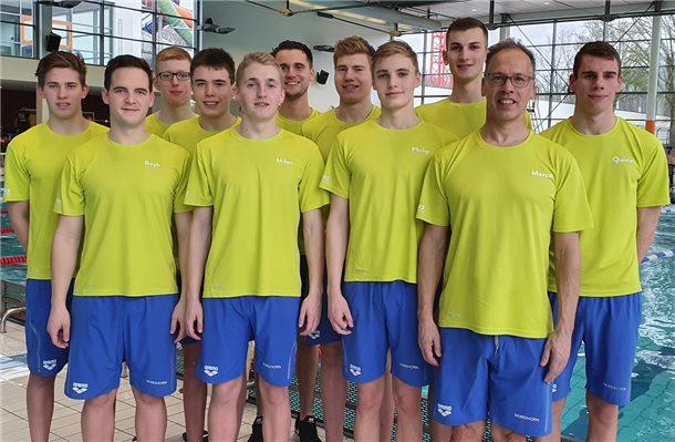 Das Waspo-Team auf Landesebene: (von links) Sören Ekkelboom, Reyk Rüger, Felix Morshuis, Lukas Bouwkamp, Milan Monse, Kai Heddendorp, Marvin Beckemper, Philip Mundt, Jan Küpers, Marcel Ekkelboom und Quirin Schiphorst. Foto: privat