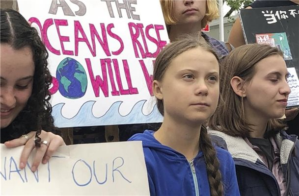 Greta Thunberg vergangene Woche bei einer Demonstration vor den Vereinten Nationen in New York. Foto: Richard Drew/AP