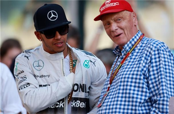 Hamilton (l) und Niki Lauda arbeiteten bei Mercedes eng zusammen. Foto: David Davies/Press Association Images