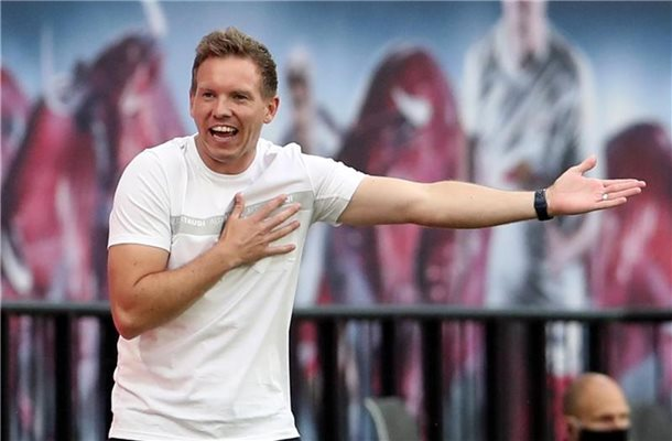 Ist mit Leipzig bei seine Ex-Club Hoffenheim gefordert: RB-Coach Julian Nagelsmann. Foto: Alexander Hassenstein/Getty Images Europe/Pool/dpa