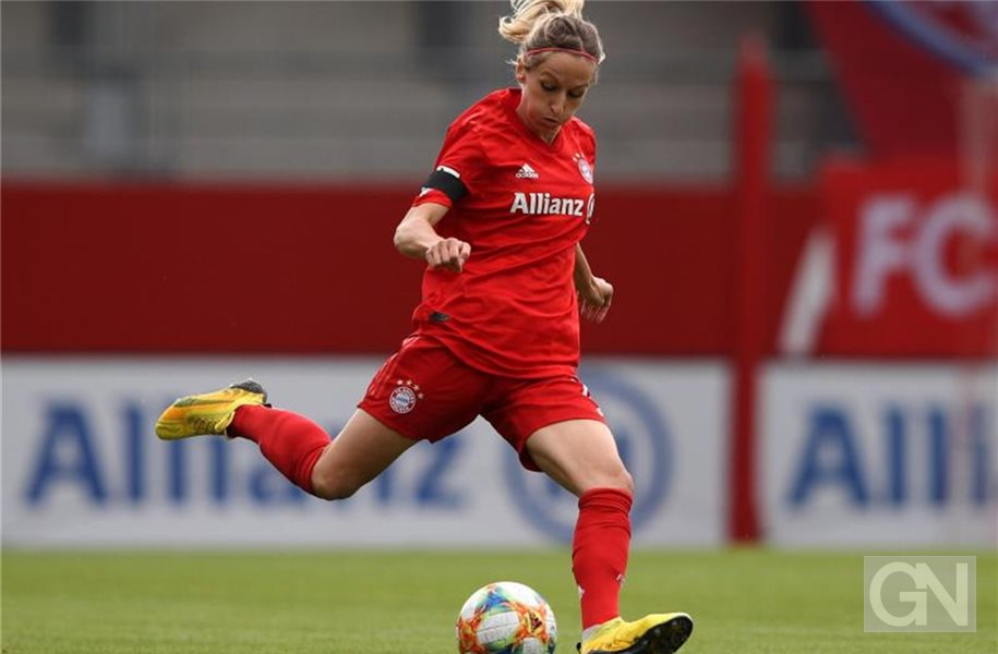 Kathrin Hendrich vom FC Bayern München am Ball. Foto: Adam Pretty/Getty Images Europe/Pool/dpa