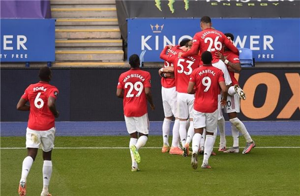 Manchester United hat dank des Sieges bei Leicester City die Champions-League-Teilnahme sicher. Foto: Oli Scarff/PA Wire/dpa
